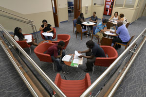 Students studying in a lounge area.